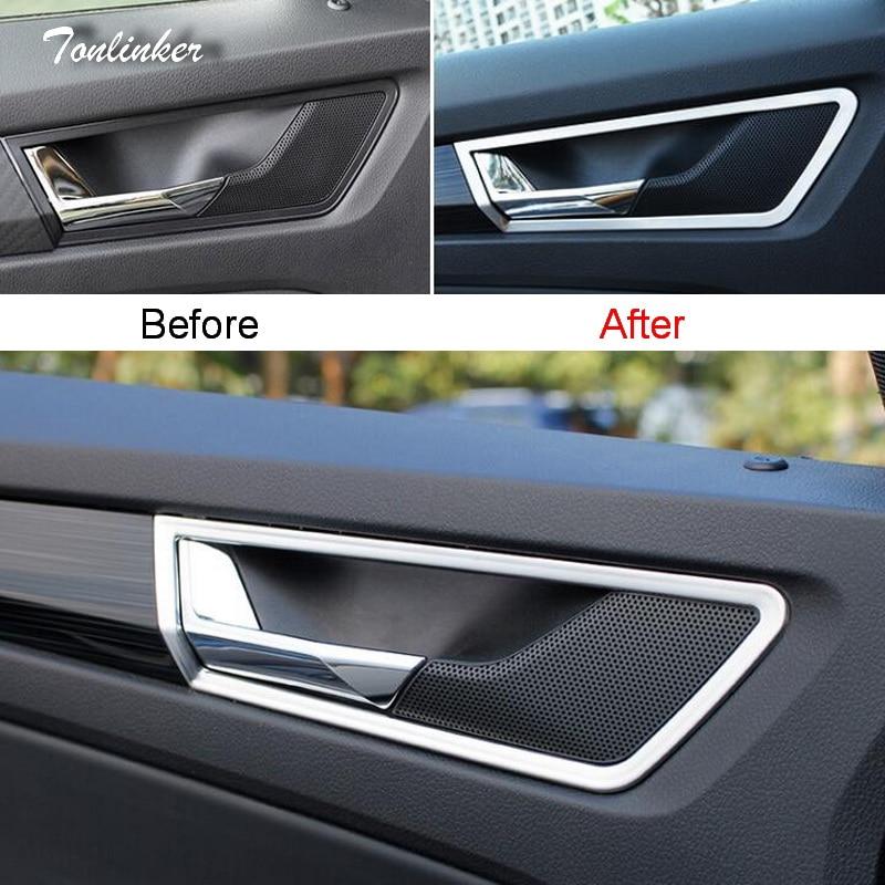 Tonlinker Couverture Autocollants pour SKODA KODIAQ 2017-18 Car Styling 4 pcs acier Inoxydable Porte Intérieure Poignée position Couverture autocollant