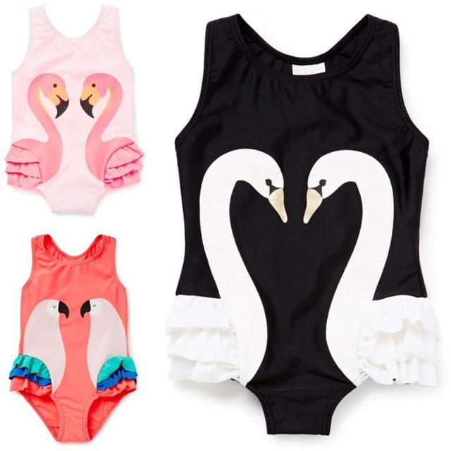 2017 New Girls Bikinis One Piece Swimsuits Baby Swimwear Children Bathing Suit Kids Monokini Swan Flamingos Cartoon Summer Top