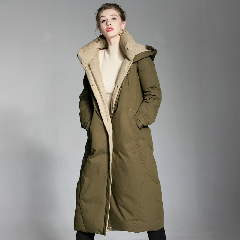 Women Winter Jackets White Duck   Down   Padded Parkas Overknee Long   Down     Coats   Thick Warm Jackas Parkas Female 2018 New AS110