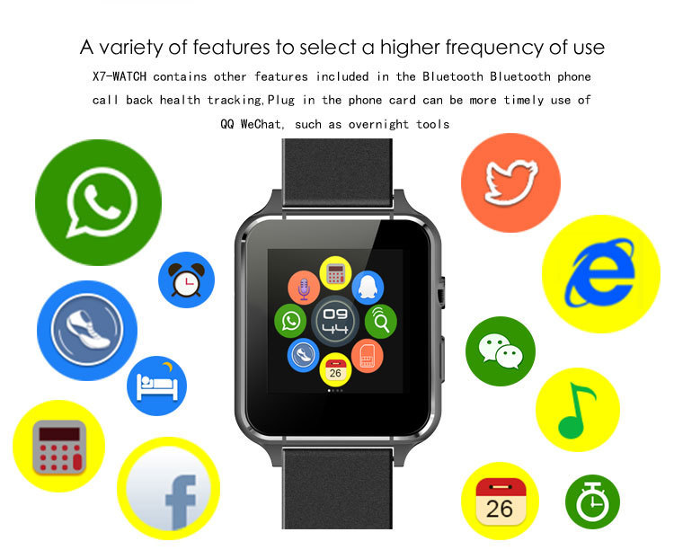 Wristwatch - LEMFO X7 Smart Watch With Camera Bluetooth WristWatch SIM Card Smartwatch For IOS Android Support Multi languages pk xiaomi