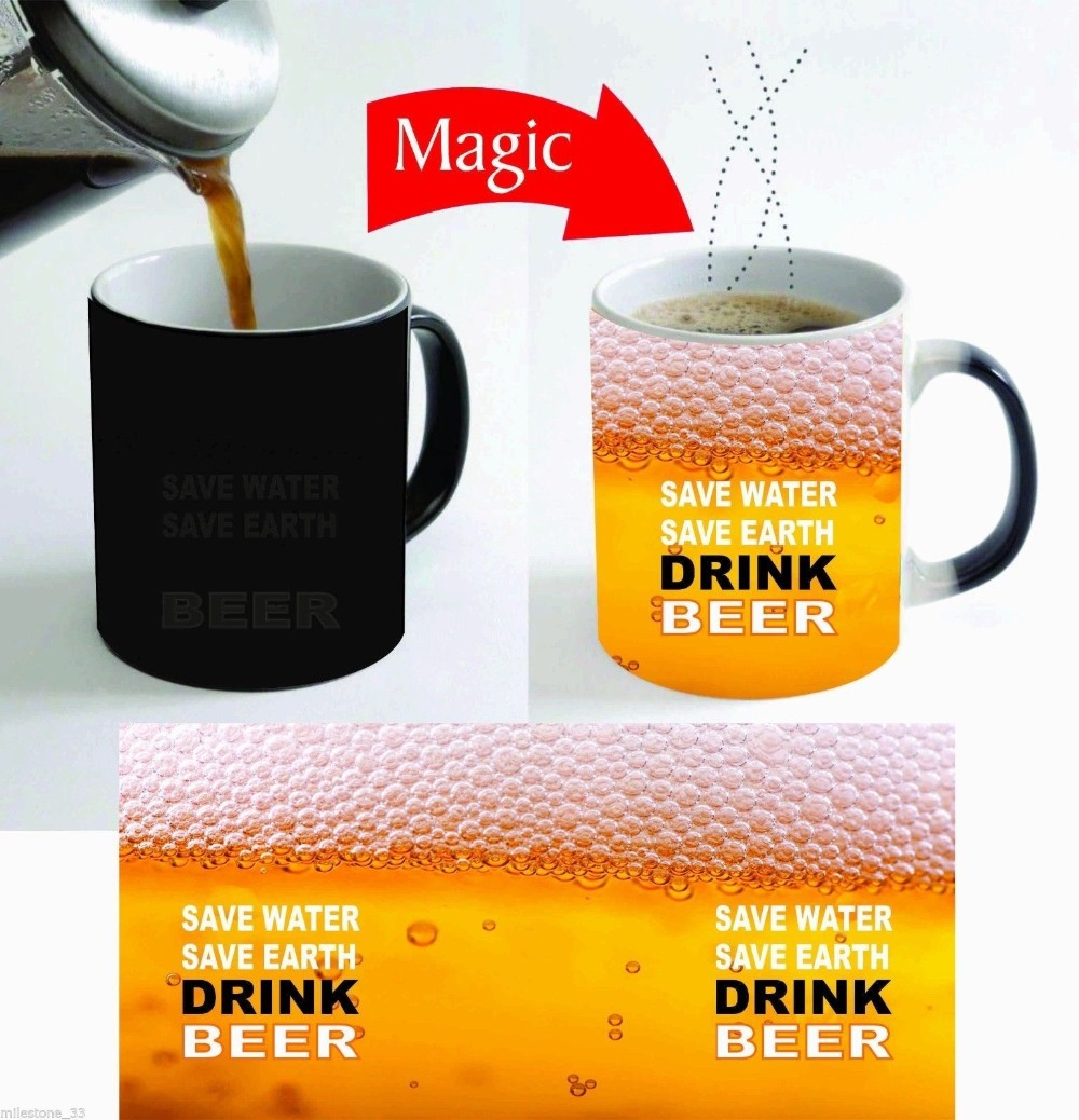 beer mugs adult wine whiskey whisky mug Tea Cup heat sensitive cup heat transforming heat changing color magic mug