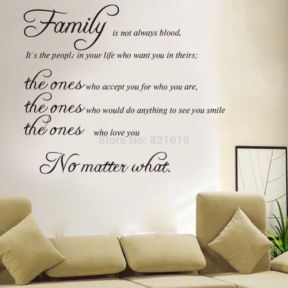 Family Is Not Always Blood Wall Decals Quotes Sayings Wall Stickers