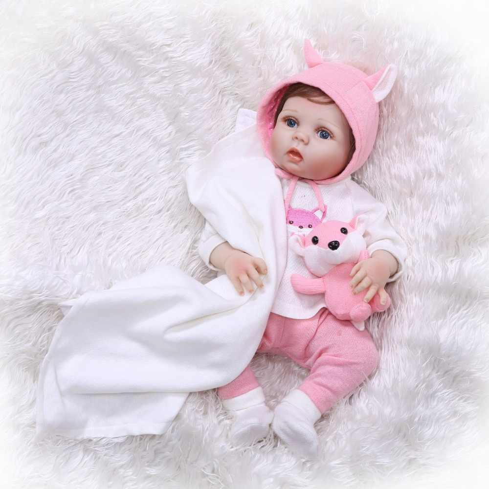 NPK Full Silicone Soft Reborn Baby Dolls 55cm Girl Bebes Reborns Doll with Clothes & Toy & 20-22 inch Rebirth Baby Doll Clothes