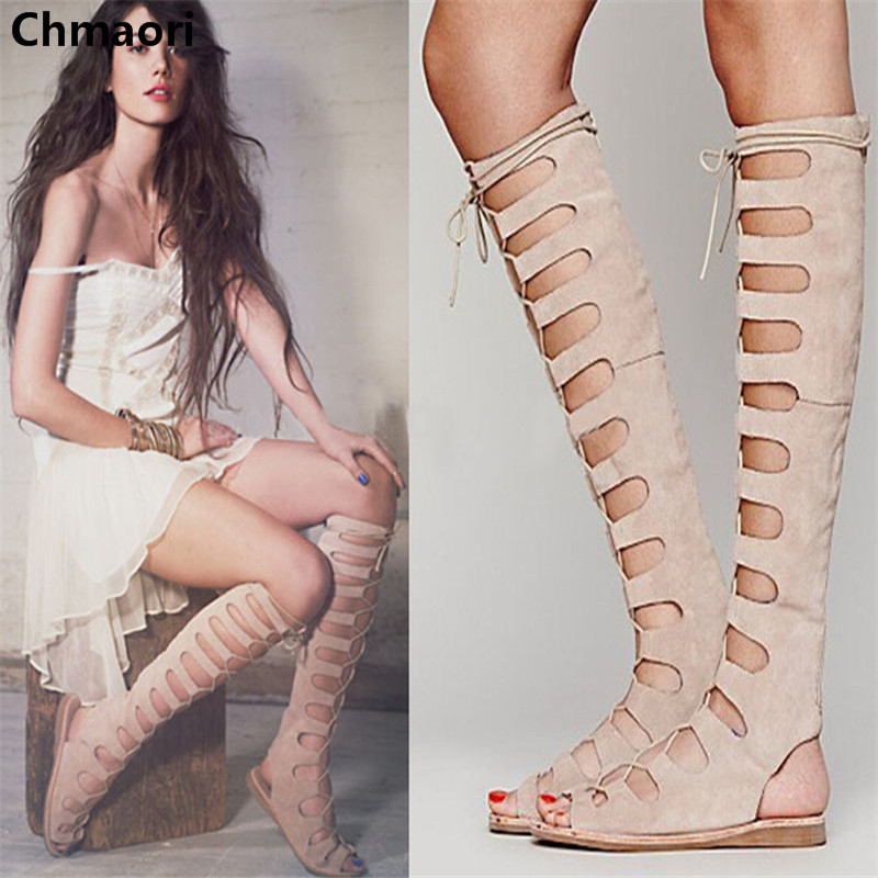 fashionable woman knee high open toe cut-outs gladiator summer boots lace up flat suede leather woman shoes brand designer faux leather strappy roman goth gladiator thong lace up bandage sandals knee high boots flat shoes free shipping