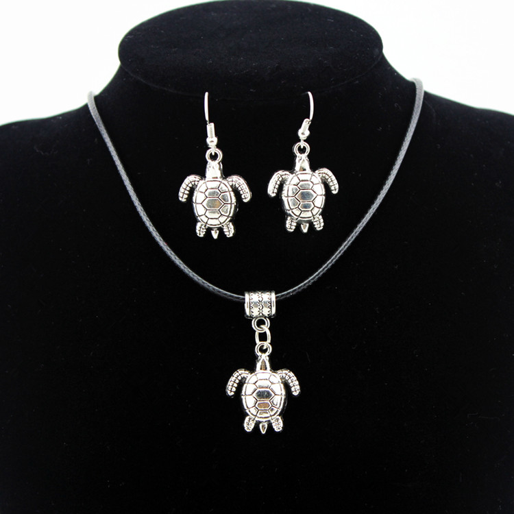 Jewelry Sets None 2017 Women Sterling Real New Sea Turtle Necklace Earrings Set Of Two Environmentally Friendly Alloy Jewelry
