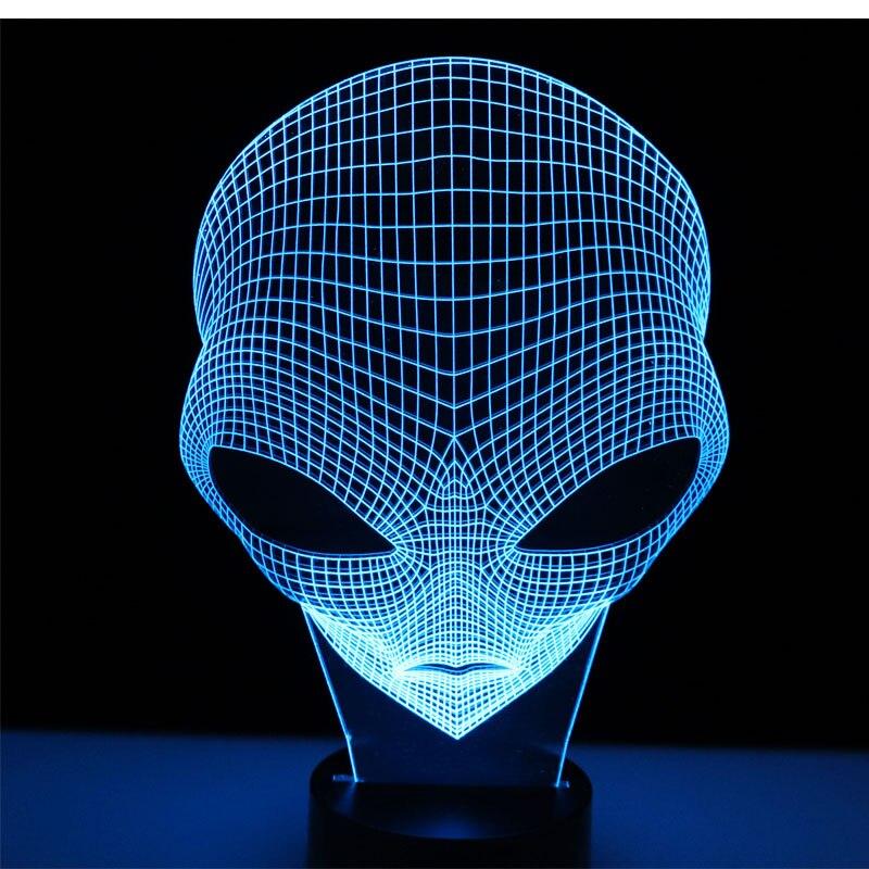 3D LED Nachtlicht Anderen Planeten Menschen Kopf mit 7 Farben Licht Alien für Dekoration Lampe Erstaunliche Visualisierung Optische