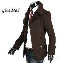 2011 Зимняя Мода Fit Траншеи мужская Куртка Slim Пальто Черный Шерстяной Ткани Оптовая