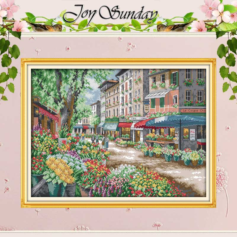 Paris Flower Market Counted Cross Stitch 11CT 14CT Cross Stitch Landscape Cross Stitch Kits Embroidery For Needlework Crafts