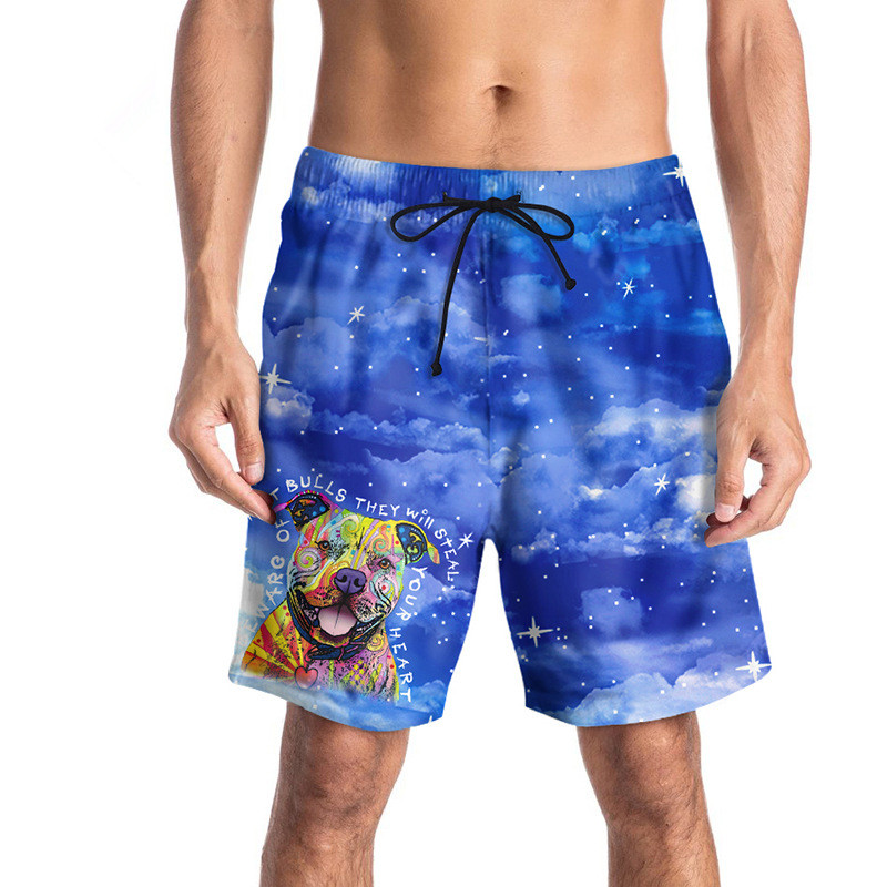 USA SIZE 2018 Summer Cartoon Dog 3D Printed Men's   Board     Shorts   Blue Beach   Short   Bermuda Swimwear Digital printing Casual Pants