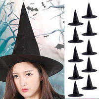TAOS 10Pcs Adult Unisex Black Oxford Fabric Witch Hat For Halloween Costume Accessory Cap