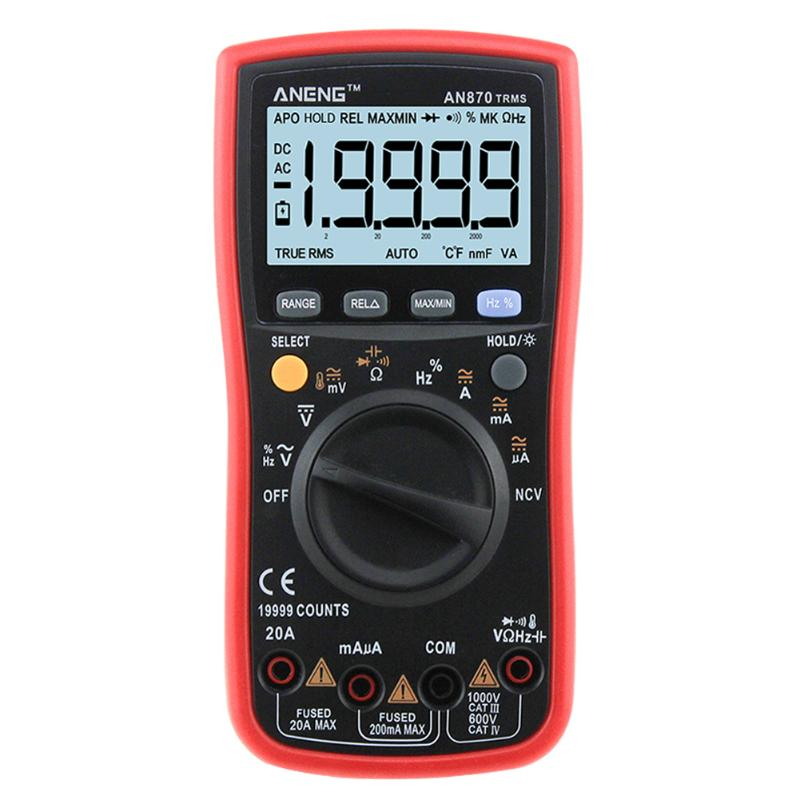 ANENG AN870 Auto Range Digital Multimeter 19999 COUNTS True-RMS NCV Ohmmeter AC/DC Voltage Ammeter Current Temperature Meter mastech ms8260f 4000 counts auto range megohmmeter dmm frequency capacitor w ncv