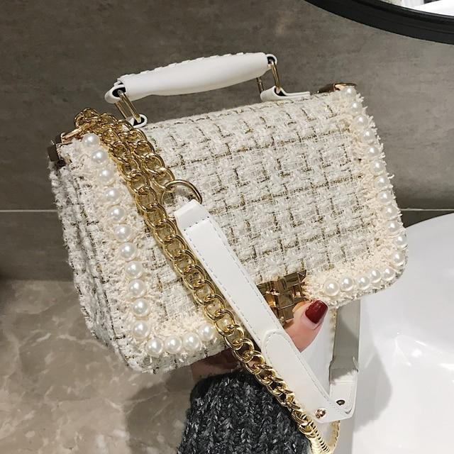 2019 Winter Fashion New Female Square Tote bag Quality Woolen Pearl Women's Designer Handbag Ladies Chain Shoulder Crossbody Bag 1