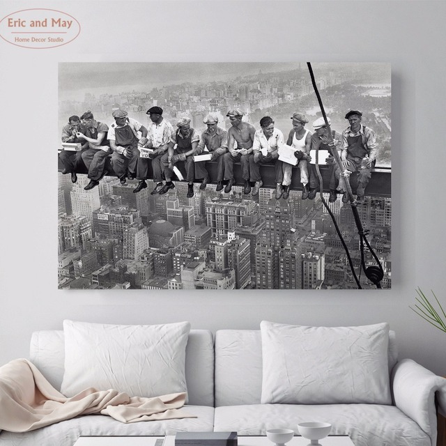 Men At Lunch New York Canvas Art Print Painting Poster Wall Picture For Living Room Home
