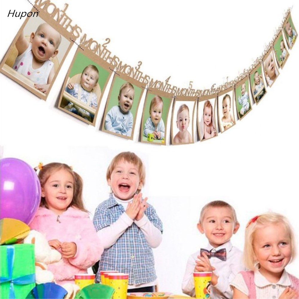 1st Birthday Decorations Baby First Birthday Banner Monthly ONE Year Bunting Garland Photo Banners Baby Shower Party Supplies