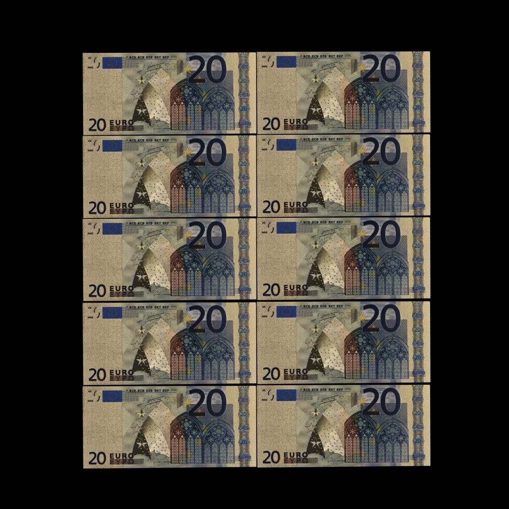10 pçs presente fino 20 eur notas de ouro em 24 k ouro falso dinheiro de papel para a coleção conjuntos de notas de euro bills coleção da ue