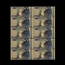 Notas de ouro 20 eur em ouro falso, notas em papel para coleção de notas euro com 10 peças coleção de bilhetes da ue