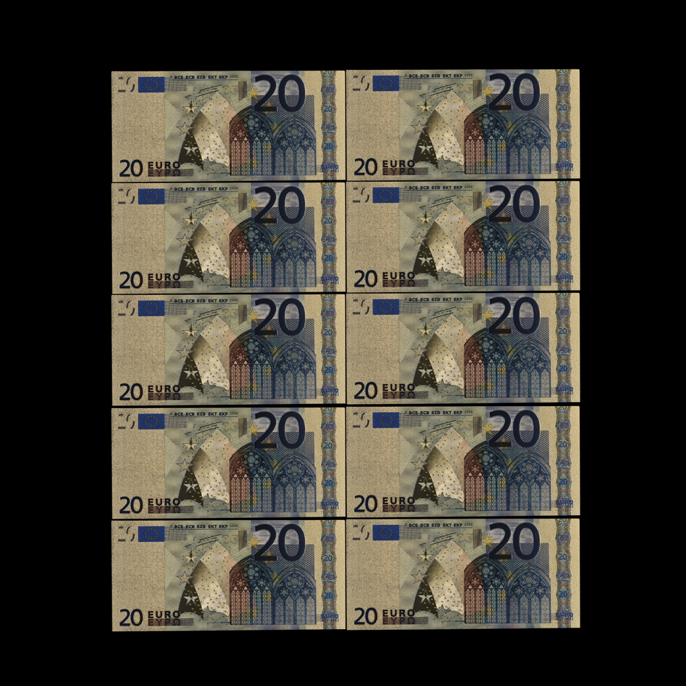 10pcs Fine Gift <font><b>20</b></font> EUR Gold <font><b>Banknotes</b></font> In 24K Gold Fake Paper Money for Collection <font><b>Euro</b></font> <font><b>Banknote</b></font> Sets Bills EU Collection image