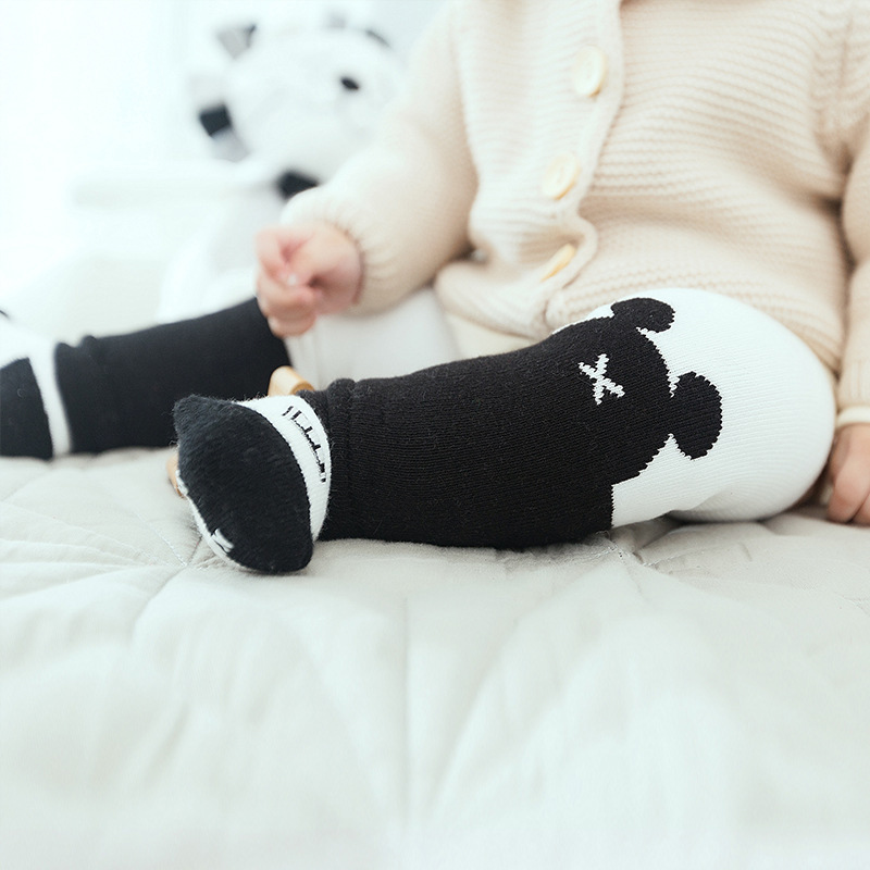 100% Quality 4pcs/lot Cartoon Baby Anti-slip Socks With Baby Knee Pads Safety Crawling Protector Infant Toddlers Terry Socks Leg Warmers Socks