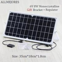 6V 8W Monocrystalline soalr panel 1.4A Prefer quality PV Module Give bracket and voltage controller for free Solar charger