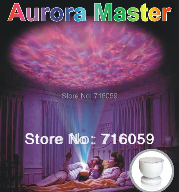 FREE SHIPPING aurora master night light ocean wave lamp speaker 12 lights led projector 7 colors/blue light