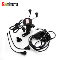 KEMiMOTO R1200GS R NINE T Motorcycle Navigation Frame Riding Mobile Phone Holder with USB Charger Mount Bracket GPS