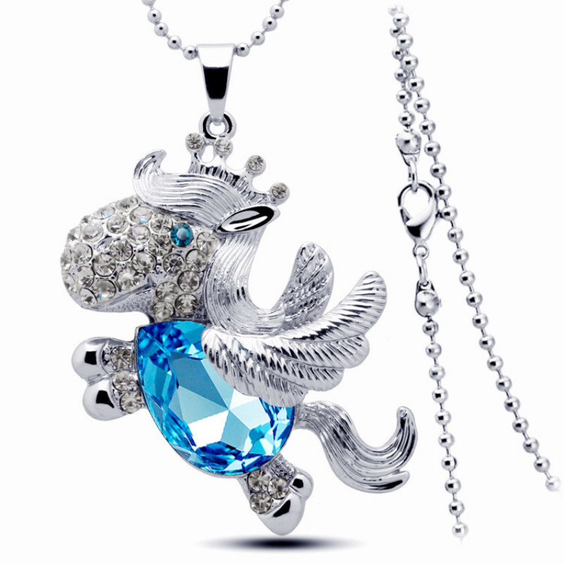 Women Crown Horse Crystal Rose Gold Color Party Blue long Necklaces Pendants Drop Shopping Fashion Jewelry Neckless