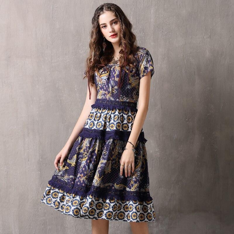 Summer Dress Women Vintage Elegant Swing Rockabilly Party Dresses Cotton Print Weaving Tassel Women Dress
