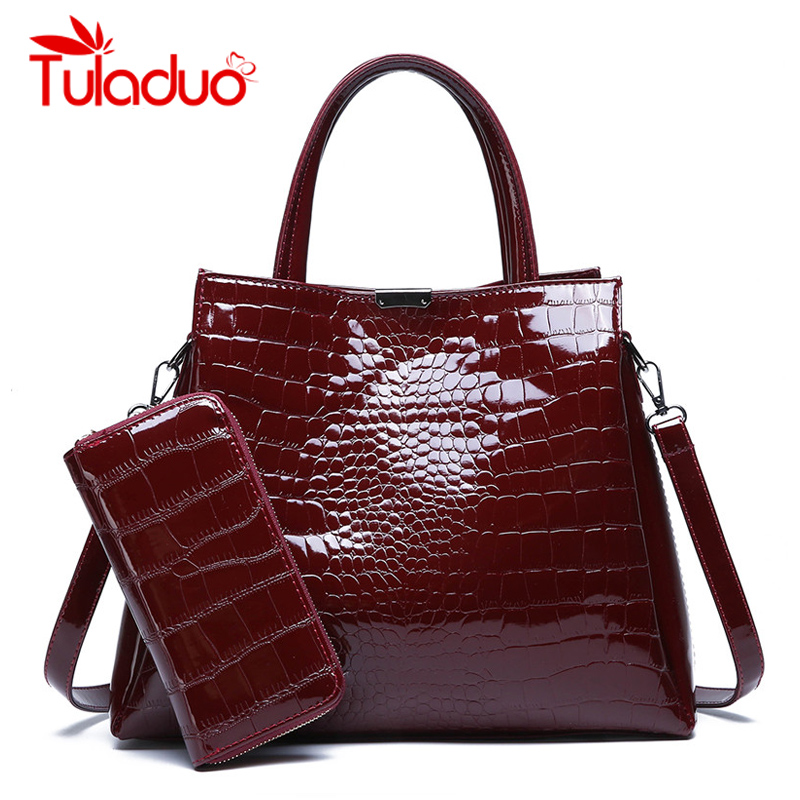 Marque de luxe Crocodile femmes sac noir rouge en cuir verni femmes sacs à main ensemble grande capacité sac à bandoulière femme fourre-tout sacs portefeuille