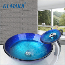 KEMAIDI US New Waterfall Spout Basin Tap+ Blue Color Tempered Glass Basin & Waterfall Faucet Wash Combo Set Deck Mount  Sink Set