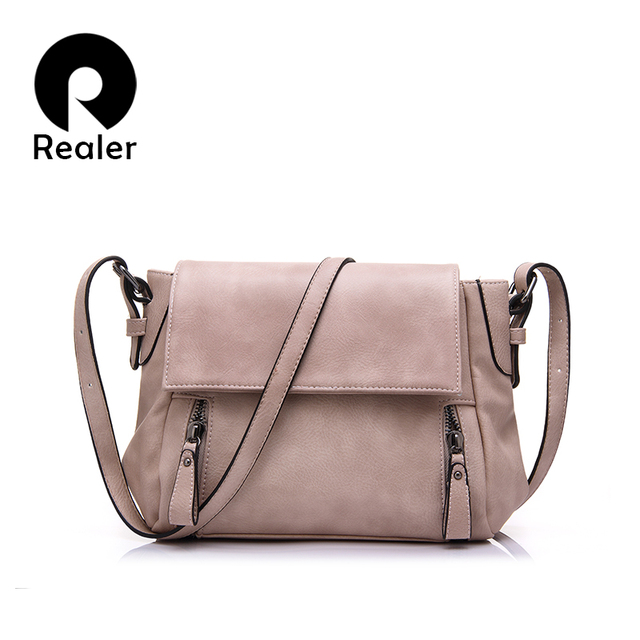 REALER brand 2017 new women handbag small shoulder messenger bags solid flap bag high quality PU tote bag