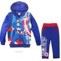 Retail Fashion children's clothing sets  Sets boys tracksuits sport suit 2piece captain America Avengers Alliance fleece hooded