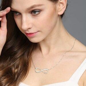 Image 2 - AILIN spersonalizowany naszyjnik nieskończoności nazwa własna naszyjnik kobiety 925 srebro arabski łańcuszek naszyjnik świąteczny prezent