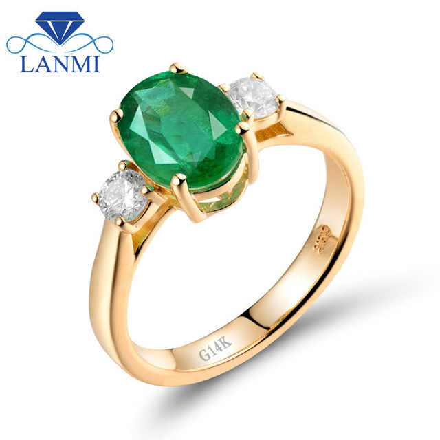simple solid 14k yellow gold natural green emerald wedding rings design shinning diamond wholesale gemstone fine - Emerald Wedding Ring