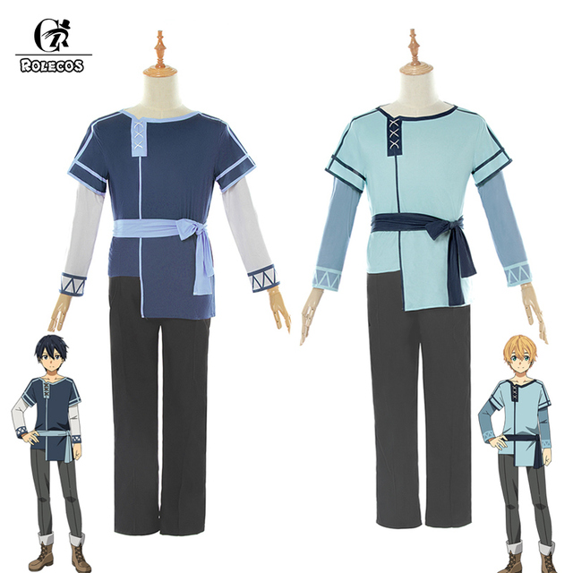 91066f1c4d ROLECOS Anime SAO Kazuto Kirigaya Eugeo Cosplay Costume Sword Art Online  Alicization Kirito Cosplay Costume Men Uniform Outfit