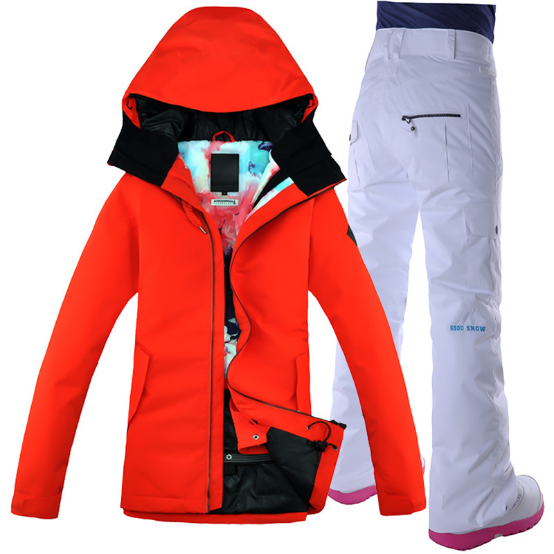 Gsou Snow Women Ski Suit Snowboard Jacket Pant Thermal Suit Waterproof Windproof Outdoor Sport Wear Super Warm Female Clothing le suit women s water lilies woven pant suit with scarf