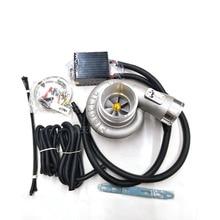Универсальный 12 В электрический турбо Комплект нагнетателя тяга электрический турбокомпрессор воздушный фильтр Впускной для автомобиля повышение скорости
