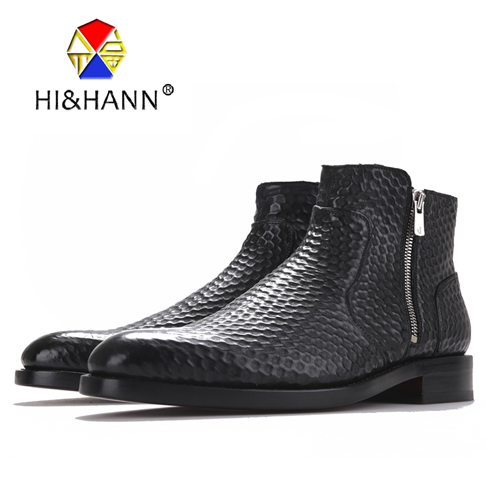 Fashion geometric embossing Genuine Leather Boots Black Zipper Ankle Boot Men's Boots Size US 6-13 Free shipping