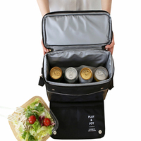 8L Upscale Black Cooler Bag Lunch Picnic Bag Food Thermal Insulation Travel Trips BBQ Fresh Keeping