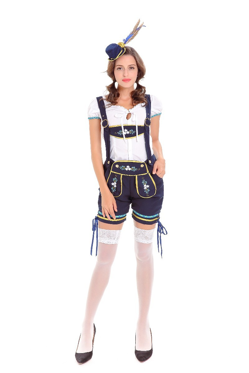 Men Oktoberfest Germany Dirndl Dress Short Sleeve Women Costume 1