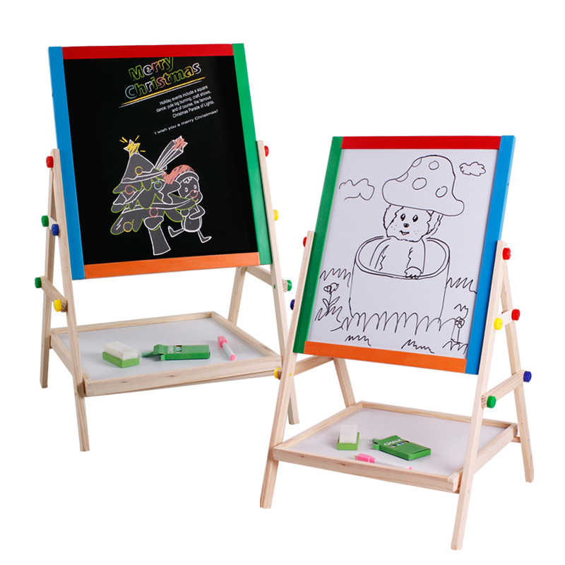 child double side wooden magnetic blackboard whiteboard kids big writing and drawing board toys with - Whiteboard Easel