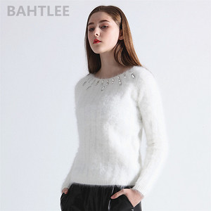Image 2 - BAHTLEE Autumn Winter Women Angora Jumper Long Sleeve Knitted Stripes Pullovers Sweater Keep Warm Handwork Diamond White