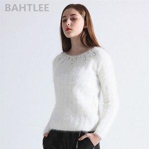 Image 2 - BAHTLEE, Осень зима, женский джемпер из ангоры, вязаные полосатые пуловеры с длинным рукавом, свитер, теплый, ручная работа, бриллиантовый белый