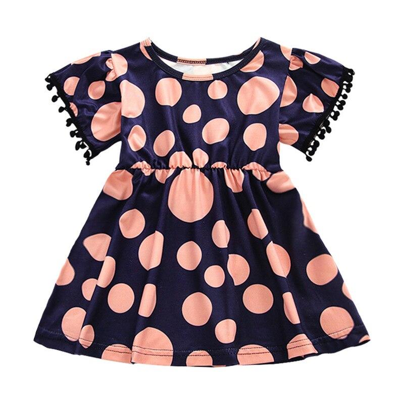 Summer Girl Dress Polka Dot Children Dress Cotton Knit Casual Girls Clothing