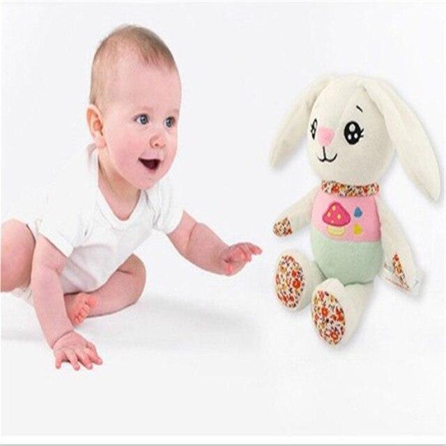 Nuevo 1 unids/lote 24 cm juguete educativo vaso de felpa de dibujos animados conejo bebé calma muñeca regalo para niños