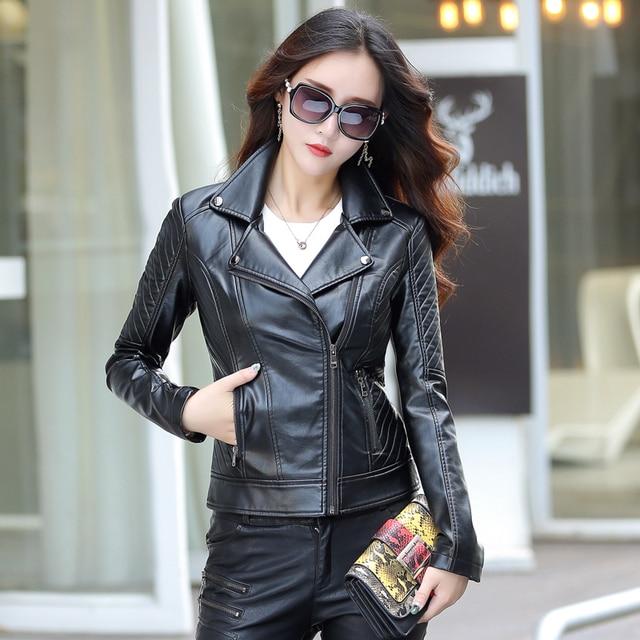 e1c292efd42 M-5XL Leather Jacket Women Fashion Turn Collar MotoZ  Biker Leater Women s  Leather Jacket Coat Female Plus Size Black Red