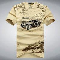 Эластичная хлопковая футболка, мужская летняя брендовая одежда AFS JEEP, повседневные 3D футболки, армейская тактическая футболка, футболка в с...