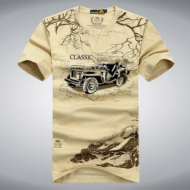 AFS JEEP Marca Elastic Cotton T Shirt Homens Verão Roupas Casuais Camisetas 3D T-Shirt do Estilo Militar Do Exército Tático Tshirt, UMA012