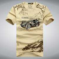 Elastic Cotton T Shirt Men Summer AFS JEEP Brand Clothing Casual 3D T Shirts Army Tactical T Shirt Military Style Tshirt,UMA012