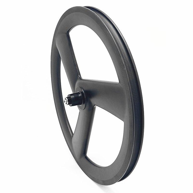 Sale carbon 3 spokes wheels bicycle carbon 3 spokes wheelset 3K UD 20in 406 3 spokes wheels 100x9mm 130x9mm V brake 20in wheels 1