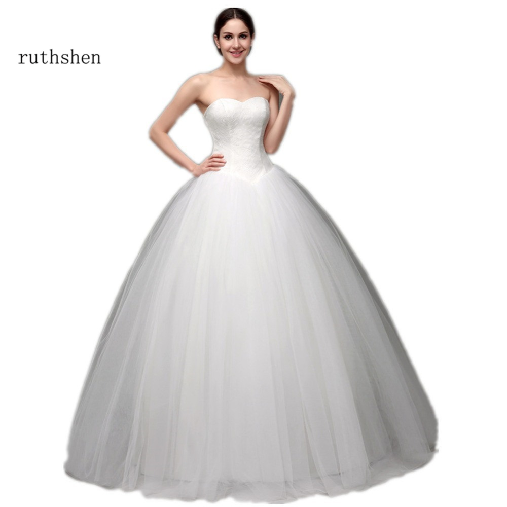 ruthshen 2017 ball wedding gowns cheap sweetheart lace tulle puffy tulle skirt lace up back bridal gowns under 100 in stock